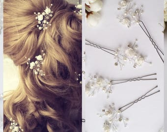 White Flower Wedding hair pins,hair vine,pins, Bridal hair pins, hair pins, Bridal headpiece,Bridal hairpiece Wedding hair3