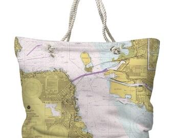 CA: San Francisco, CA Nautical Chart Tote Bag
