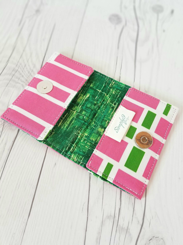 Pink Green Wallet Pink Wallet Small Wallet Small Women Wallet
