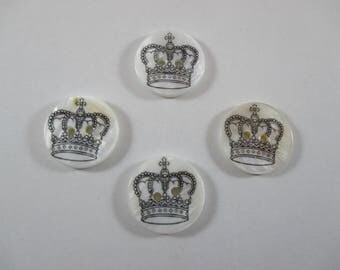 Round buttons, Pearl, Crown, white and black.