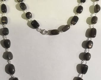 grey moonstone  sterling silver necklace