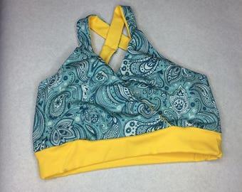 Ladies Crossover (nursing) Bra -  paisley print fabric Size Large 5