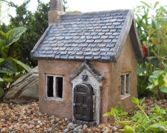Fairy Garden Cottage, Miniature Fairy House, Tiny Brown House With Hinged  Door