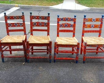 Vintage Adult Painted Mexican Chairs. Set of 4. Very Rare. Local Pick-up.