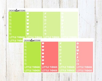Green / Red Little Things ( 36 Matte Planner Stickers )