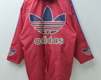 ADIDAS Jacket Vintage 90's Adidas Big Logo Spell Out Made In Japan Long Winter Button Jacket Size Jaspo L