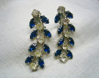 Vintage B.David Sapphire & Clear Rhinestone Dangling Clip on Earrings