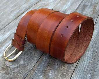 Men's Leather Belt, Buffalo leather belt, Saddle Tan leather belt, Jeans belt
