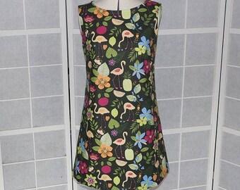 Dress short loose-fitting a-line sleeveless jungle print fabric