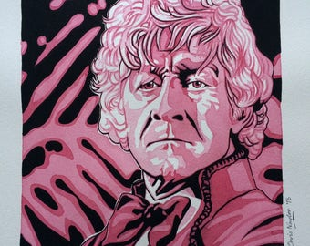 ORIGINAL watercolour/gouache painting of Jon Pertwee (Doctor Who) by Chris Naylor (25% off price for a limited period)