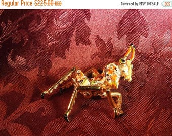ON SALE stunning exceptionally rare hattie carnagie figural gold plate and enamel grasshopper brooch
