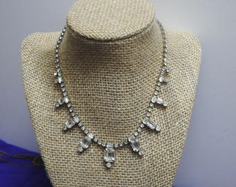 beautifuful vintage unsigned clear great gatsby rhinestone necklace
