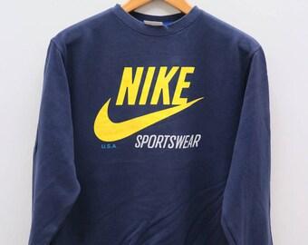 Vintage NIKE Sportswear Big Logo Blue Sweatshirt Sweater Size L
