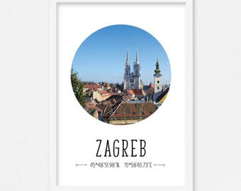 Croatian poster, Travel poster Europe, Travel poster Croatia, Zagreb print, Croatian souvenir, Zagreb poster, Travel printable, Croatia gift