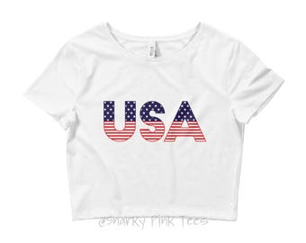 Patriotic Shirt - Patriotic Crop Top - USA Shirt - USA Crop Top - Women's Crop Top - Independence Day - 4th of July - Red White and Blue