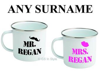 Personalised Mr & Mrs enamel mug