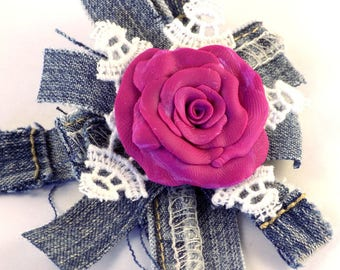 Blue  Jeans Fuchsia Polymer Rose White Lace Brooch