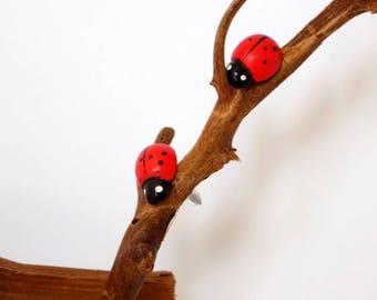 Red Black Ladybug Stud Earrings