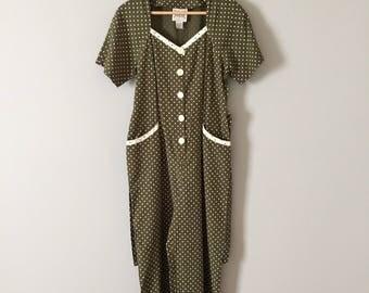 moss green romper    polka dot print jumpsuit    1980s bow straps romper