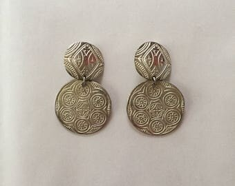ORNAMENT dangle earrings | minimalist silver tone round sphere earrings | clip on ornament earrings