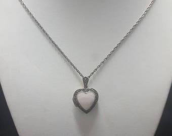 Vintage Sterling Silver pink heart locket