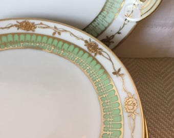 Vintage China Dessert Set, Nippon Dessert Plates, 7 piece, Gilded Gold Mint Green China