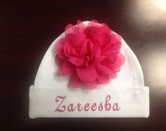 Personalized Newborn Baby Hat Customized Infant Hospital Hat for a Boy or Girl, flower is included.