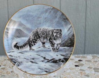 "Vintage ""Fleeting Encounter"" Porcelain Collector Plate / Snow Leopard Porcelain Plate / Charles Frace The Worlds Most Magnificent Cats"