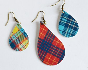 Leather Teardrop Earrings // Large or Mini Teardrop Leather Earrings  in Red, Yellow, and Blue Plaid // Leafy Treetop Leather // Plaid /Fall