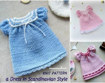 Blythe dress pattern Doll dress pattern Amigurumi toy blue dress Knit dress pattern Teddy bear knit clothes Waldorf doll Tilda dress pattern