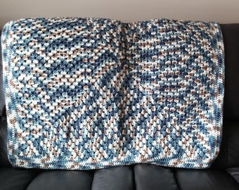 Hand Crocheted Afghan, Blue Light Brown and White Crocheted Afghan