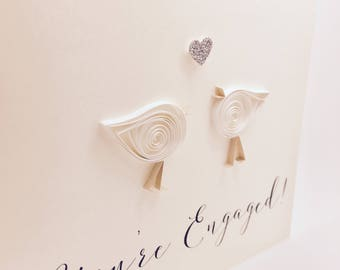 You're Engaged! - Little Lovebirds - Handmade Quilled Engagement Card