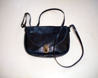 small dark blue leather bag