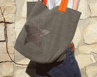 heavy canvas tote bags Star Silver