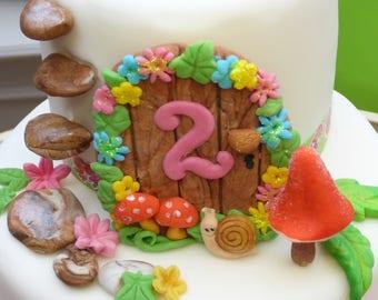 Garden Fairy Door,Toadstool,Flowers,Age,Birthday,Handmade ,Edible,Cake Topper