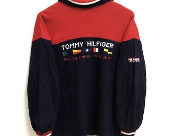 RARE!!! Tommy Hilfiger Sailing Gear Big Logo Embroidery SpellOut Multicolour Polos Sweatshirts Hip Hop Swag M Size
