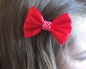 Red satin hair bow, hair accessory, hair accessories, hair clip, childrens bow, spotty hair piece, girls hair bow, girls hair accessories