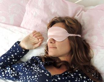 Silk eye mask, pink eye mask, pink silk eyemask, silk sleep mask, pink sleep mask, silk satin sleepmask, elasticated eye mask, travel mask