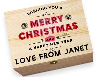 Wishing You A Merry Christmas Personalised Wooden Printed Christmas Eve Box