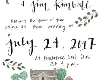 custom painted wedding invitation