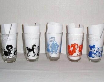 1950s Vintage Kraft Kiddie Kup Series.  Vintage Kraft Jelly/Cheese Glasses. Pony. Chicken. Bear. Homemaker.