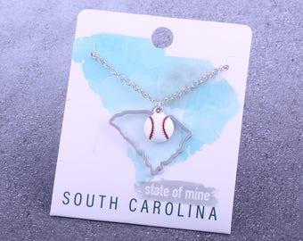 Customizable! State of Mine: South Carolina Baseball Enamel Necklace - Great Baseball Gift!