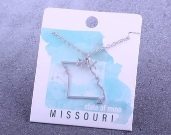 Customizable! State of Mine: Missouri LAX Silver Lacrosse Necklace - Great Lacrosse Gift!