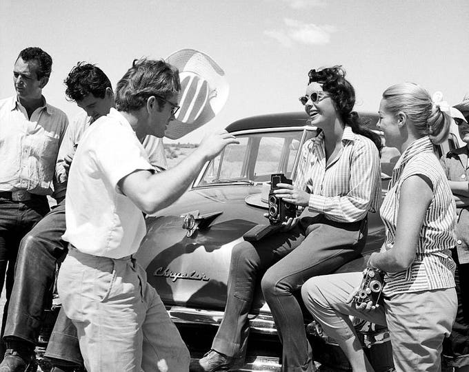 """Rock Hudson, James Dean and Elizabeth Taylor on the Set of the Film """"Giant"""" - 5X7 or 8X10 Photo (OP-291)"""