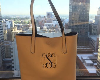Monogrammed Faux-Leather Tote