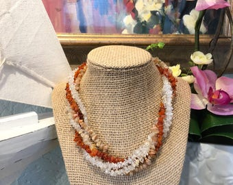Multistrand orange white peach chip beads