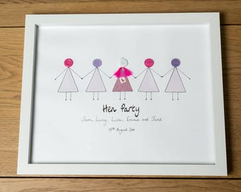 Hen Party Gift - Bride to Be - Hen Parties - Hen Do - Personalised - Framed