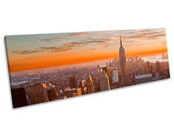 New York City Skyline Blue CANVAS WALL ART Panoramic Framed Print