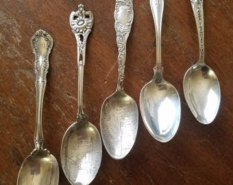 5 Sterling Silver Spoons, Random Mix