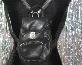 90's Mini Black Leather Backpack